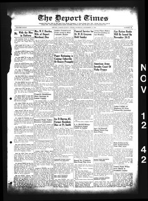 Primary view of object titled 'The Deport Times (Deport, Tex.), Vol. 34, No. 40, Ed. 1 Thursday, November 12, 1942'.