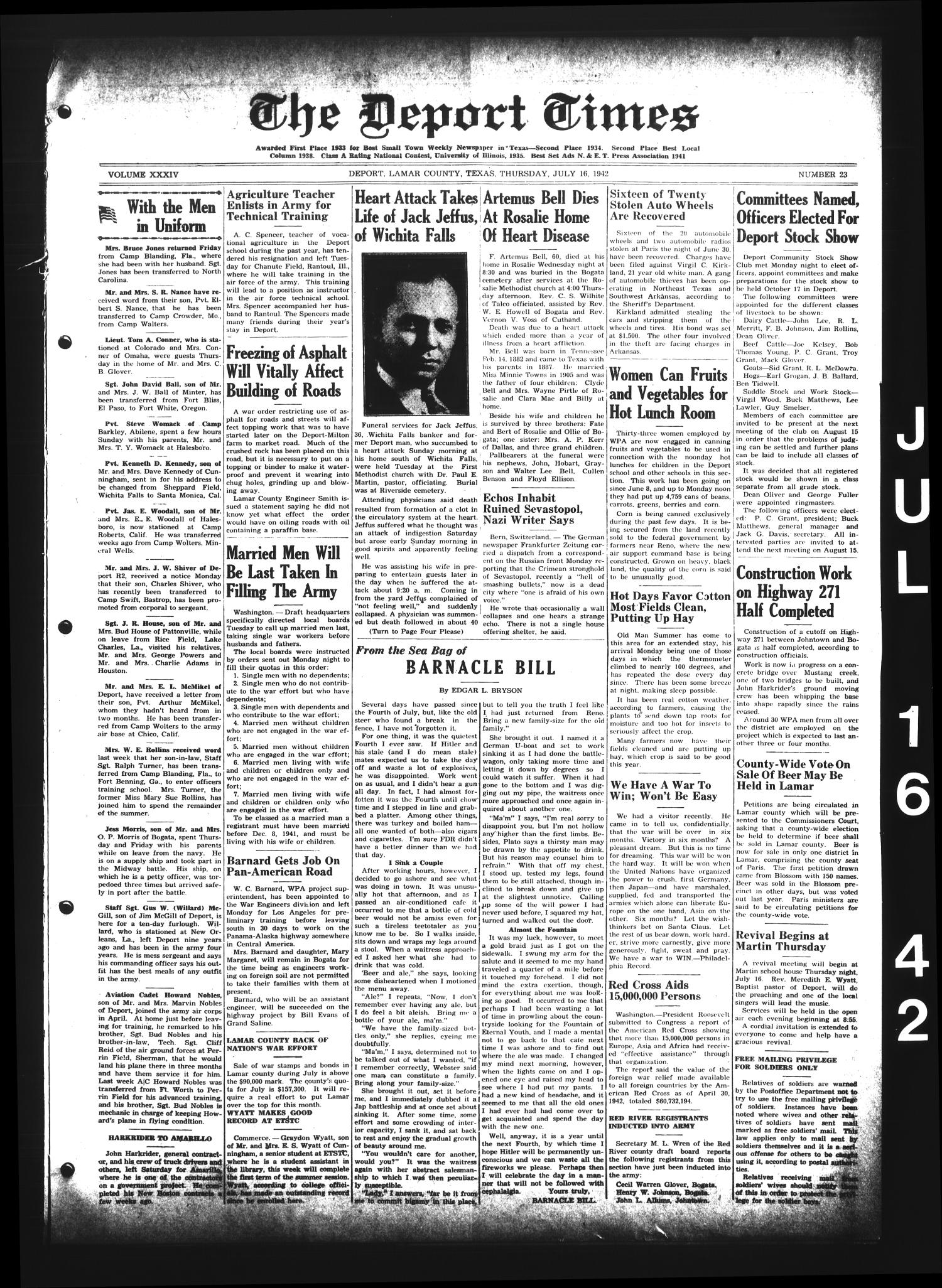 The Deport Times (Deport, Tex.), Vol. 34, No. 23, Ed. 1 Thursday, July 16, 1942                                                                                                      [Sequence #]: 1 of 8