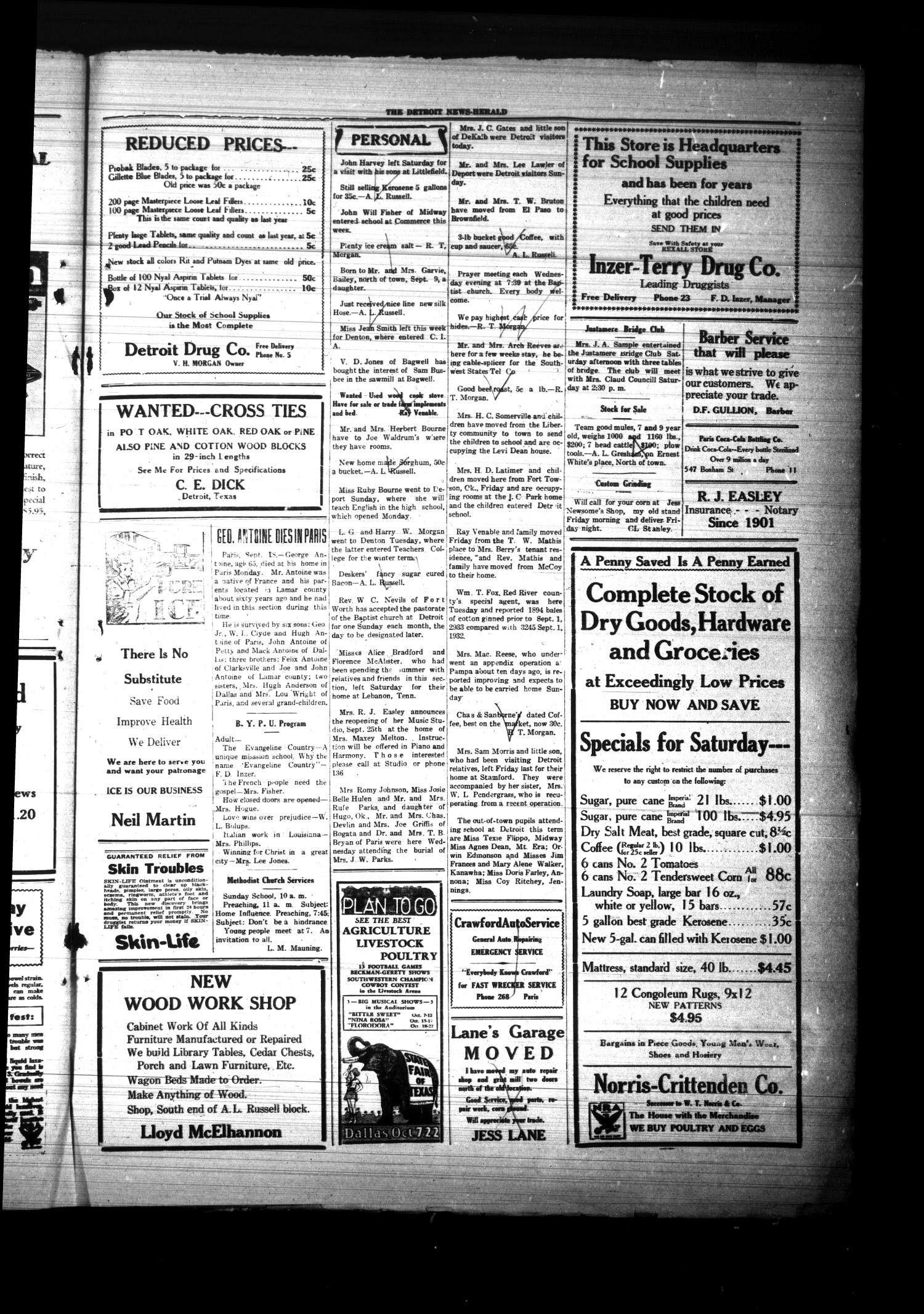 The Detroit News-Herald (Detroit, Tex.), Vol. 6, No. [24], Ed. 1 Thursday, September 21, 1933                                                                                                      [Sequence #]: 3 of 4