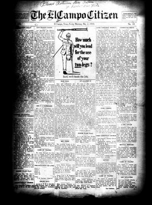Primary view of object titled 'The El Campo Citizen (El Campo, Tex.), Vol. 19, No. 10, Ed. 1 Friday, May 2, 1919'.
