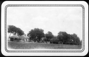Primary view of object titled '[George Ranch House and yard from a south approach]'.
