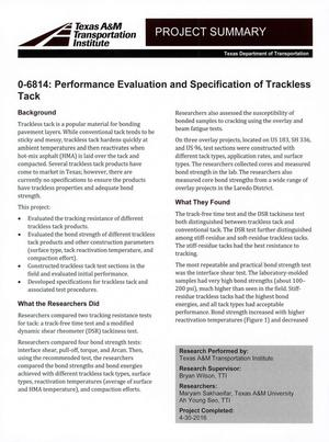 Primary view of object titled 'Project Summary: Performance Evaluation and Specification of Trackless Tack'.