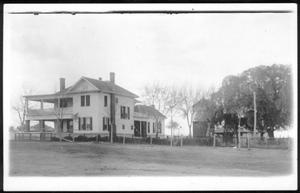 Primary view of object titled '[The George Ranch house from a northwest approach]'.