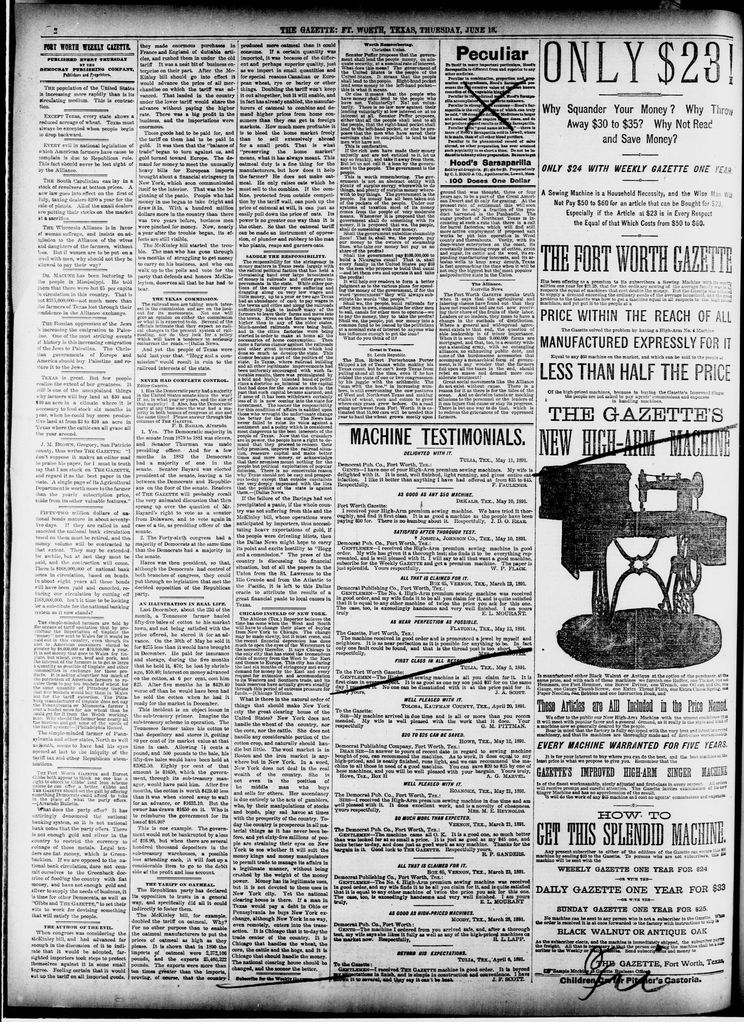 Fort Worth Gazette. (Fort Worth, Tex.), Vol. 13, No. 28, Ed. 1, Thursday, June 18, 1891                                                                                                      [Sequence #]: 2 of 12