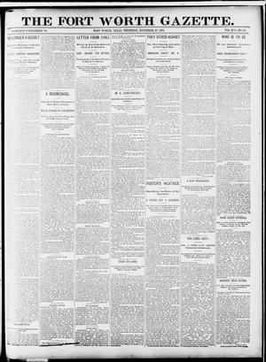 Primary view of object titled 'Fort Worth Gazette. (Fort Worth, Tex.), Vol. 13, No. 50, Ed. 1, Thursday, November 19, 1891'.