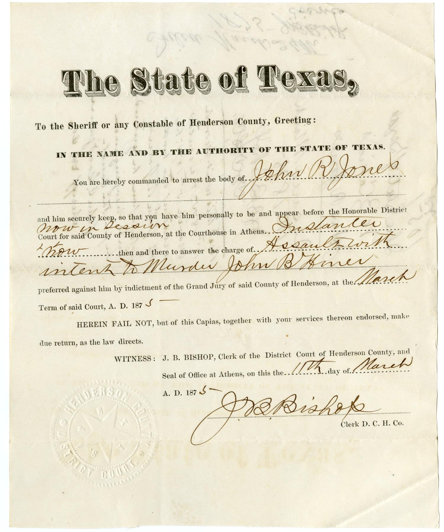 Documents pertaining to the case of The State of Texas vs. John R. Jones, cause no. 1051, 1875                                                                                                      [Sequence #]: 3 of 20