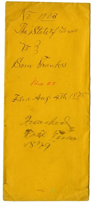 Primary view of object titled 'Documents pertaining to the case of The State of Texas vs. Sam Franks, cause no. 1103, 1875'.