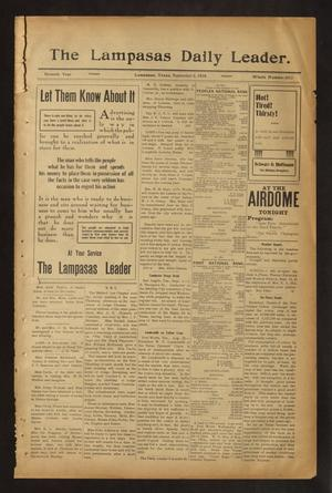 Primary view of object titled 'The Lampasas Daily Leader. (Lampasas, Tex.), Vol. 7, No. 2013, Ed. 1 Friday, September 2, 1910'.