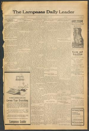 Primary view of object titled 'The Lampasas Daily Leader (Lampasas, Tex.), Vol. 28, No. 170, Ed. 1 Monday, September 21, 1931'.