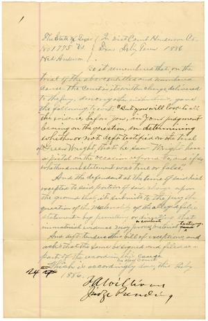 Primary view of object titled 'Document pertaining to the case of The State of Texas vs. Ned Anderson, cause no. 1775, 1886'.