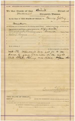 Primary view of object titled 'Document pertaining to the case of The State of Texas vs. Conner Gilkey, cause no. 1783, 1885'.