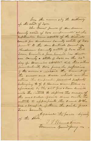 Primary view of object titled 'Documents pertaining to the case of The State of Texas vs. Tom and John Smith, cause no. 1857 and no. 1557, 1886'.