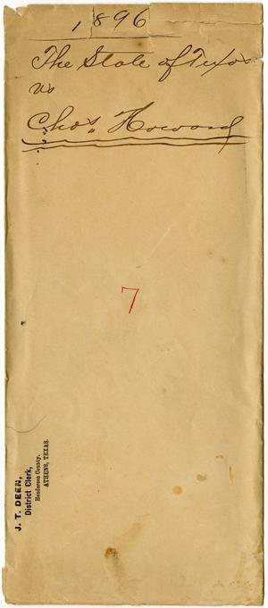 Primary view of object titled 'Document pertaining to the case of The State of Texas vs. Charley Howard, cause no. 1896, 1887'.