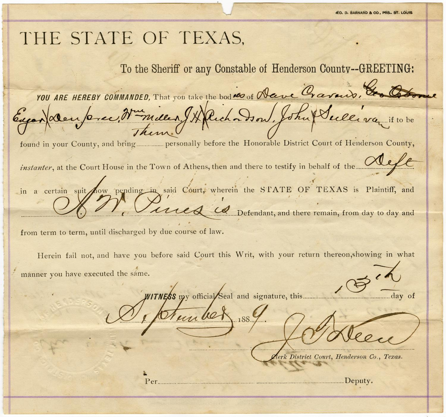 Documents related to the case of The State of Texas vs. A. W. Pines, cause no. 1929, 1888                                                                                                      [Sequence #]: 3 of 332