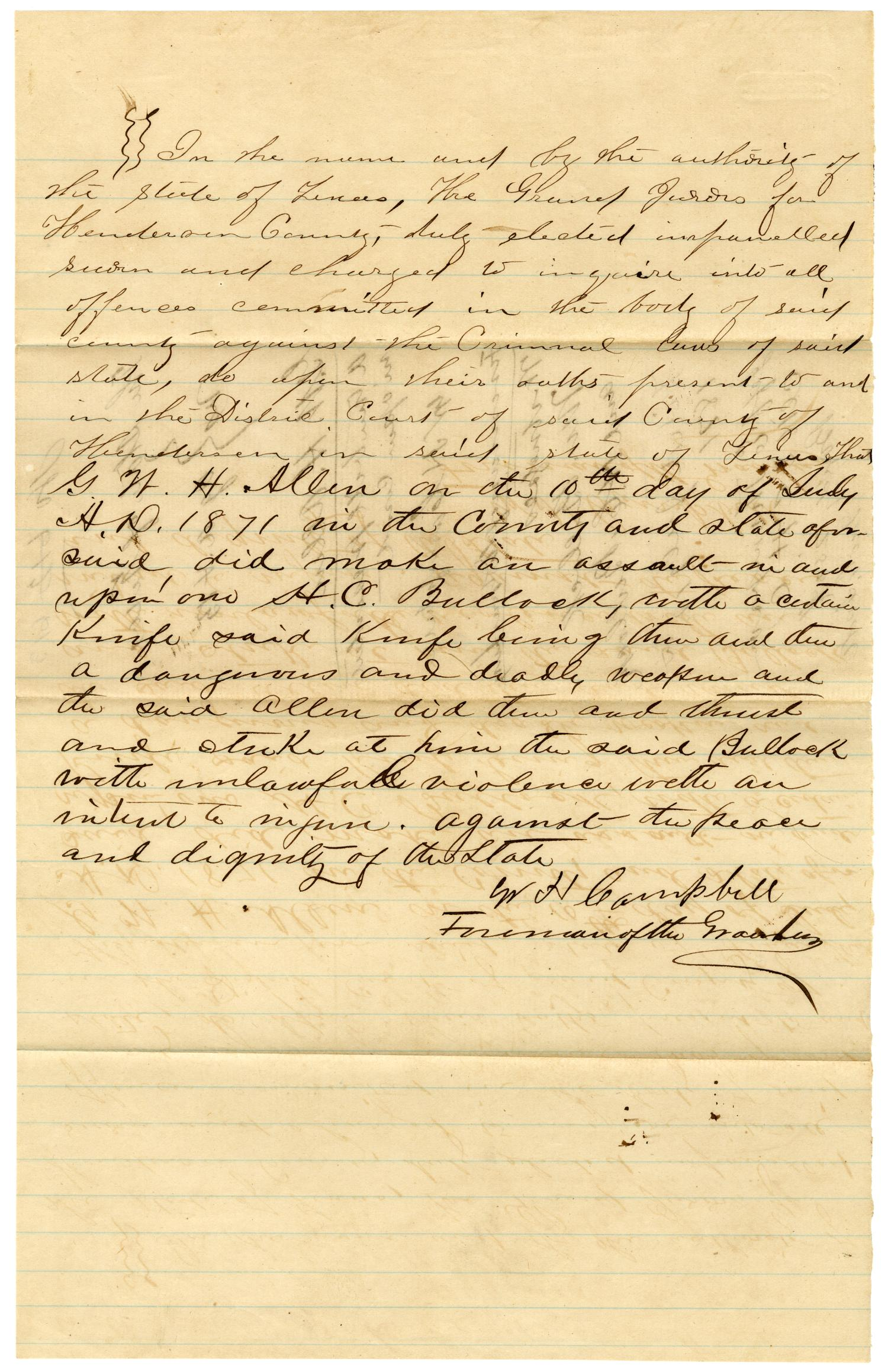 Documents pertaining to the case of The State of Texas vs. G. W. H. Allen, cause no. 613, 1871                                                                                                      [Sequence #]: 3 of 16