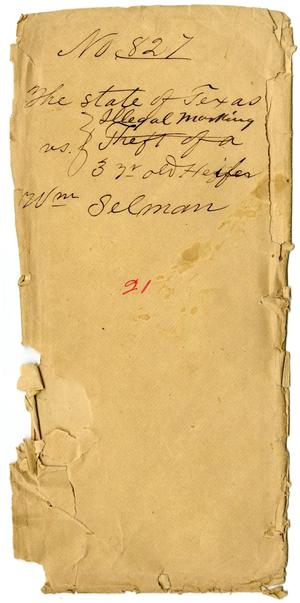 Primary view of object titled 'Documents pertaining to the case of The State of Texas vs. William Selman, cause no. 827, 1873'.