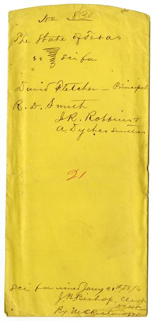 Primary view of object titled 'Documents pertaining to the case of The State of Texas vs. David Fletcher, cause no. 830, 1874'.