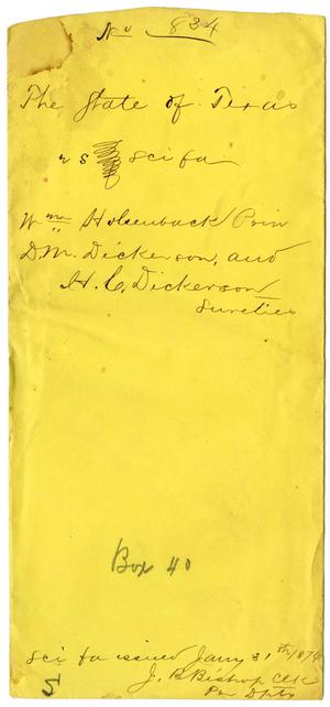 Documents pertaining to the case of The State of Texas vs. William Holseuback, cause no. 834, 1874