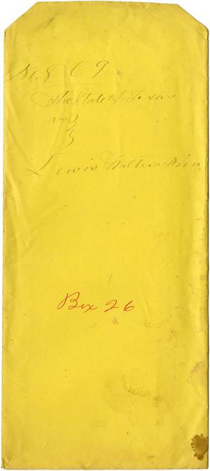 Documents related to the case of The State of Texas vs. Lewis Walter, cause no. 869, 1874