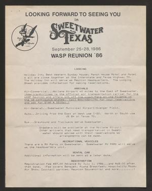 Primary view of object titled '[Flyer: WASP Reunion '86 #3]'.