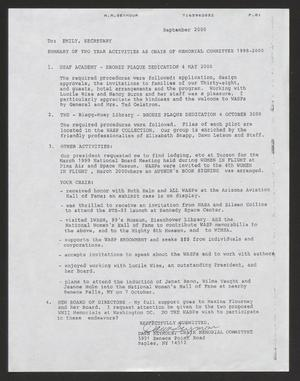 Primary view of object titled '[Memo from Dawn Seymour to Emily, September 2000]'.