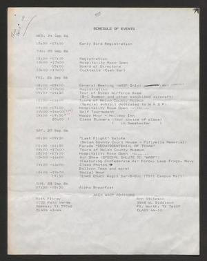 Primary view of object titled '[Schedule of Events for the 1986 WASP Reunion]'.