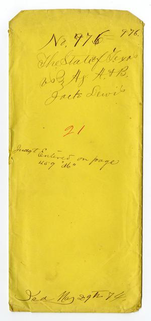 Primary view of object titled 'Documents pertaining to the case of The State of Texas vs. Jack Lewis, cause no. 976, 1874'.