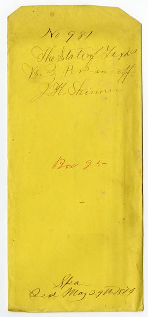 Primary view of object titled 'Documents pertaining to the case of The State of Texas vs. J. H. Skinner, cause no. 981, 1874'.