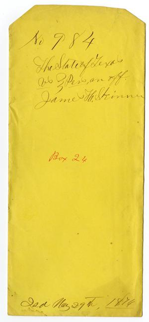 Documents pertaining to the case of The State of Texas vs. J. H. Skinner, cause no. 984, 1874