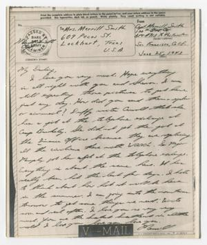 [Letter from Captain Merrill Smith to his wife, June 25, 1943]