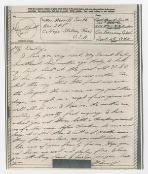 [Letter from Captain Merrill Smith to his wife, September 28, 1943]