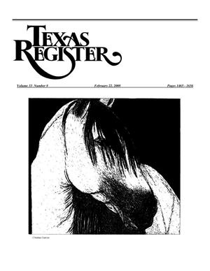 Primary view of object titled 'Texas Register, Volume 33, Number 8, Pages 1465-1656, February 22, 2008'.