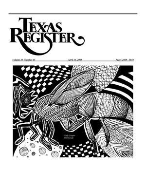 Primary view of object titled 'Texas Register, Volume 33, Number 15, Pages 2869-3078, April 11, 2008'.