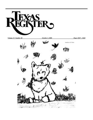 Primary view of object titled 'Texas Register, Volume 33, Number 40, Pages 8267-8444, October 3, 2008'.