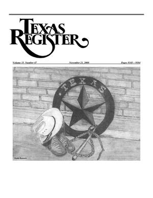 Primary view of object titled 'Texas Register, Volume 33, Number 47, Pages 9345-9584, November 21, 2008'.