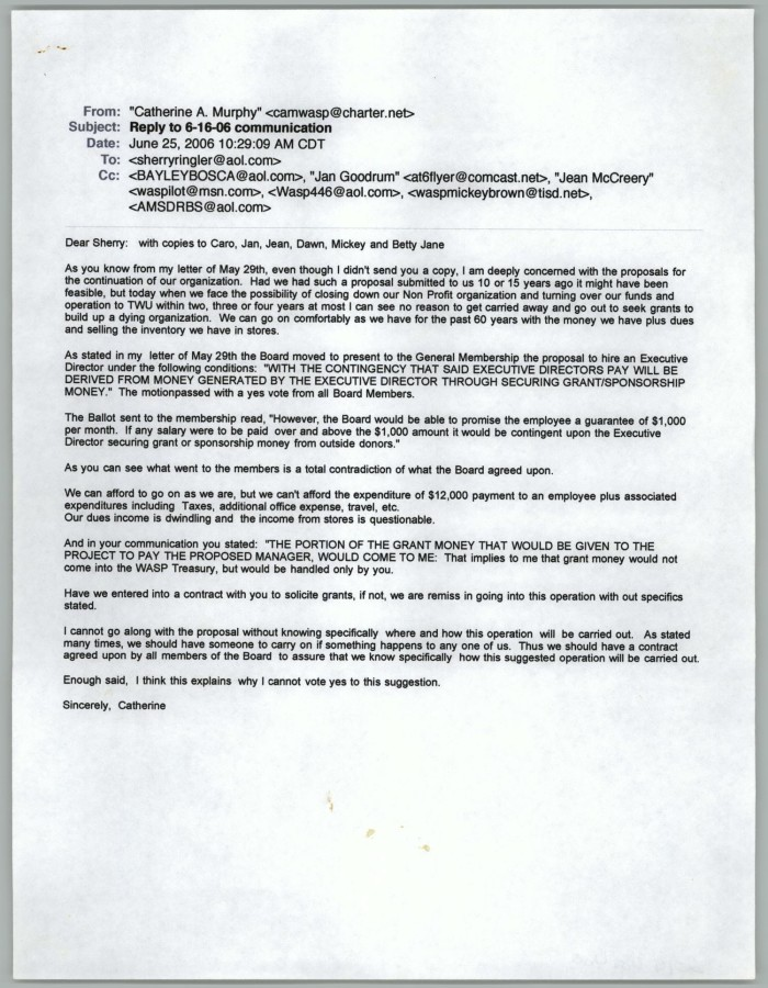 Email from Catherine Murphy to Sherry Ringler, June 25, 2006] - The