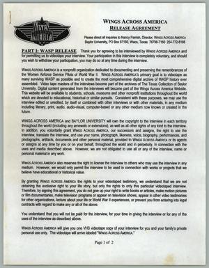 Wings Across America Release Agreement