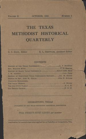 Primary view of object titled 'Texas Methodist Historical Quarterly, Volume 2, Number 2, October 1910'.