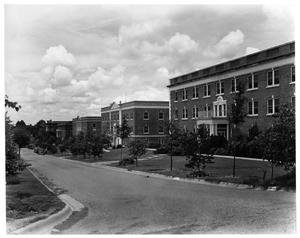 Primary view of object titled 'Texas Woman's University Dormitory Row, 1937'.