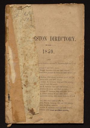 Primary view of object titled 'Morrison & Fourmy's General Directory of the City of Galveston: 1859'.