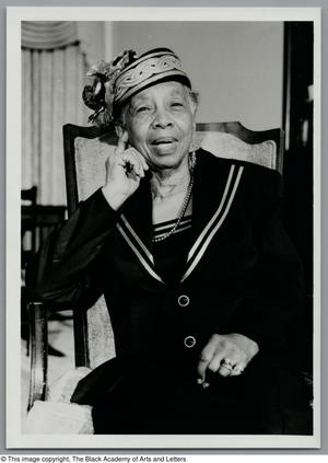 Black and white photograph of Opal Williams Jones seated.