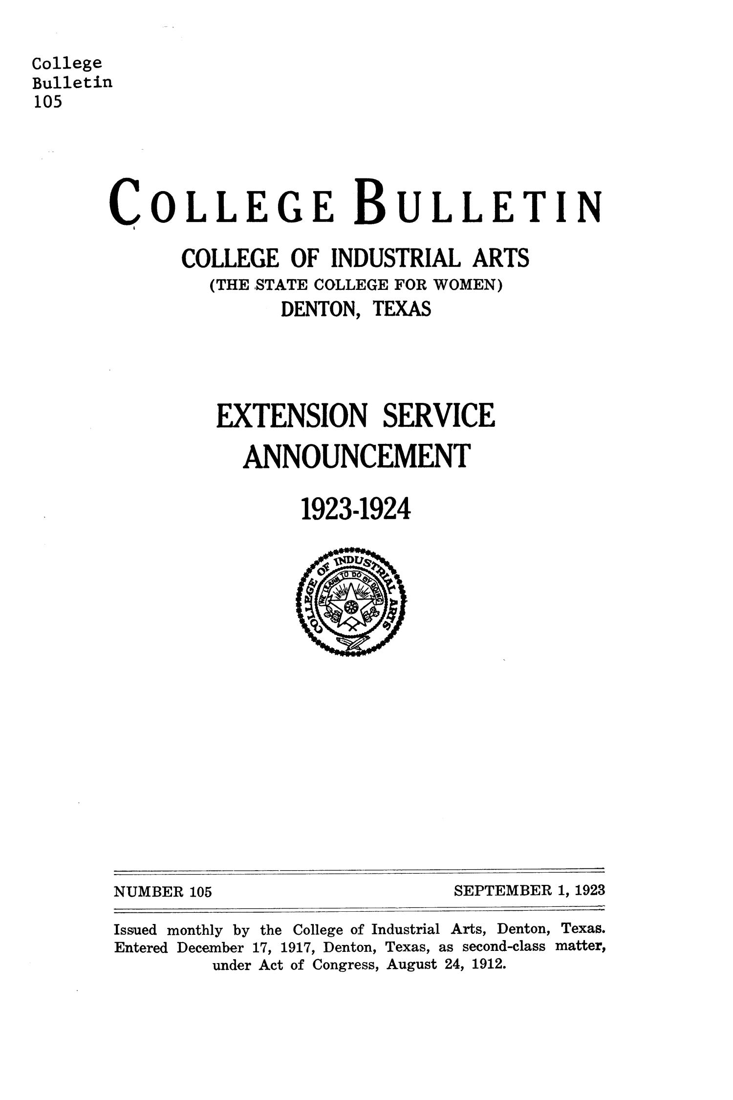 College Bulletin, Number 105, September 1, 1923                                                                                                      Front Cover