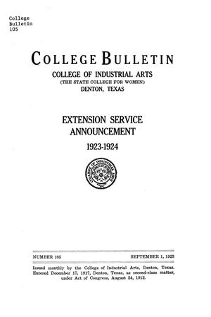 Primary view of object titled 'College Bulletin, Number 105, September 1, 1923'.