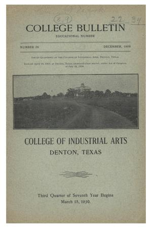 Primary view of object titled 'College Bulletin, Number 28, December, 1909'.