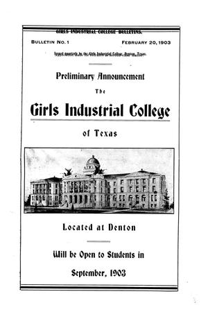 Girls Industrial College Bulletins.  Bulletin Number 01, February 20, 1903