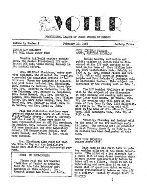 Primary view of object titled 'The Denton Voter, Volume 01, Number 09, February 12, 1962'.