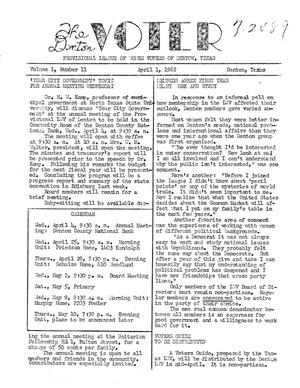 Primary view of object titled 'The Denton Voter Newsletter, Volume 01, Number 11, April 1, 1962'.