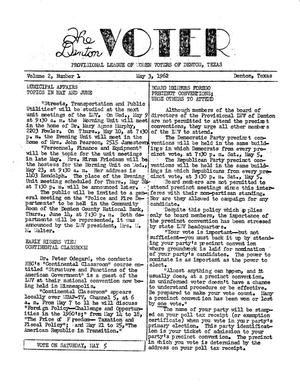Primary view of object titled 'The Denton Voter Newsletter, Volume 02, Number 01, May 3, 1962'.