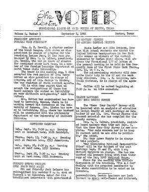 Primary view of object titled 'The Denton Voter Newsletter, Volume 02, Number 03, September 8, 1962'.
