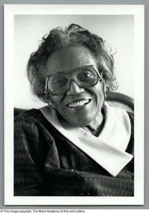 Black and white close up photograph of Mable Chandler.